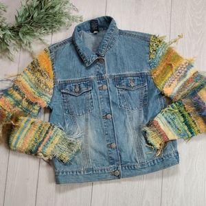 GAP kids Jean jacket with funky sweater sleeves